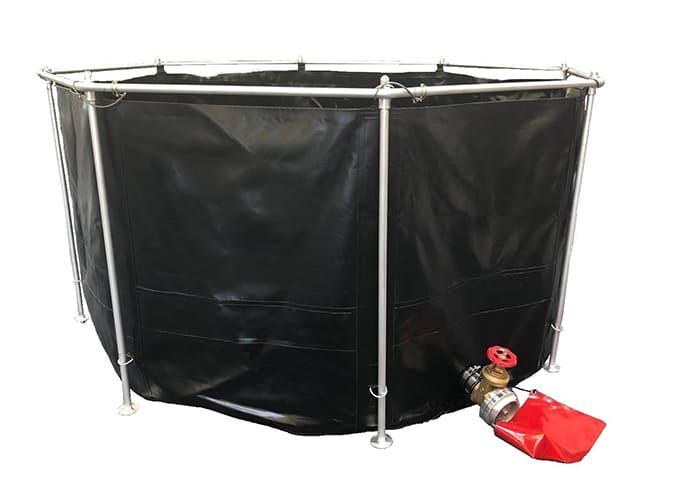 Gerüstfaltbehälter in schwarz mit Entleerungs-Armatur