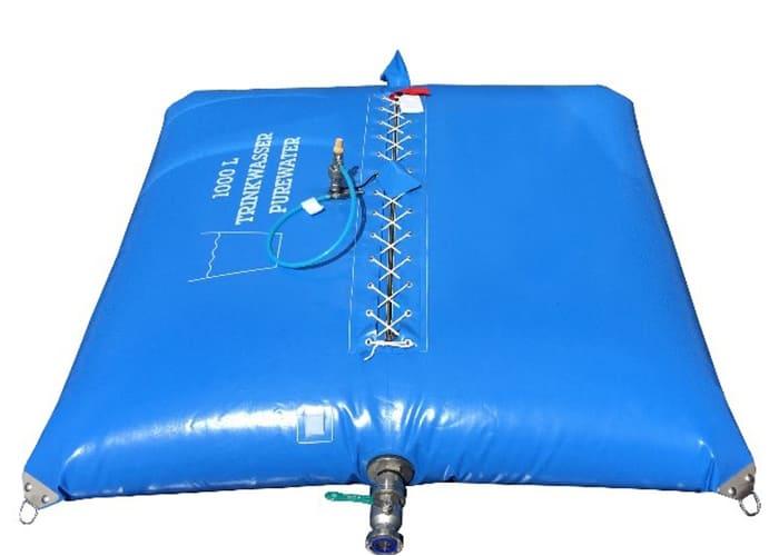 Faltbehälter mit Verschnürung für den Trinkwasserbereich